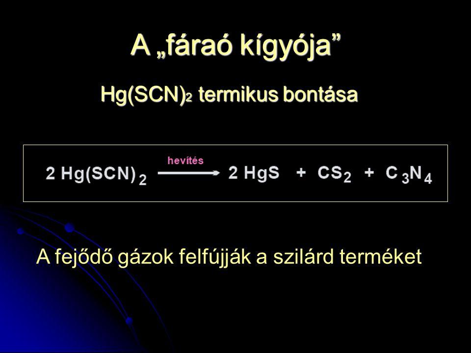 """A """"fáraó kígyója"""" Hg(SCN) 2 termikus bontása A fejődő gázok felfújják a szilárd terméket"""