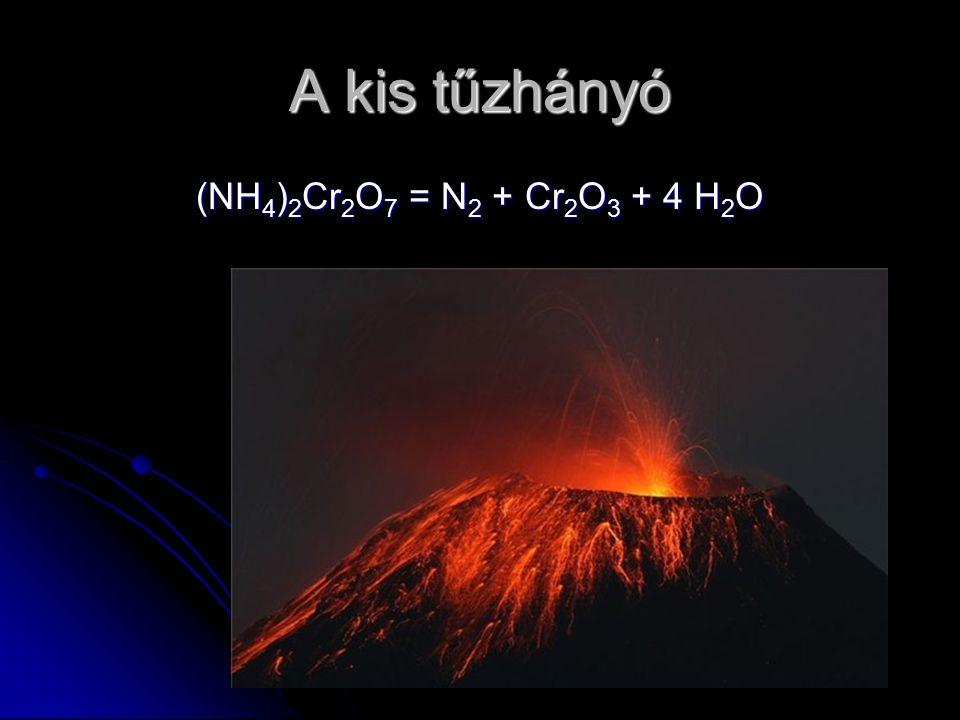 A kis tűzhányó (NH 4 ) 2 Cr 2 O 7 = N 2 + Cr 2 O 3 + 4 H 2 O