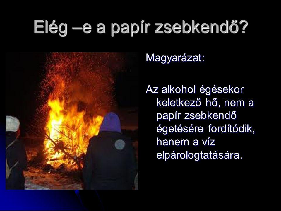 Elég –e a papír zsebkendő? Magyarázat: Az alkohol égésekor keletkező hő, nem a papír zsebkendő égetésére fordítódik, hanem a víz elpárologtatására.