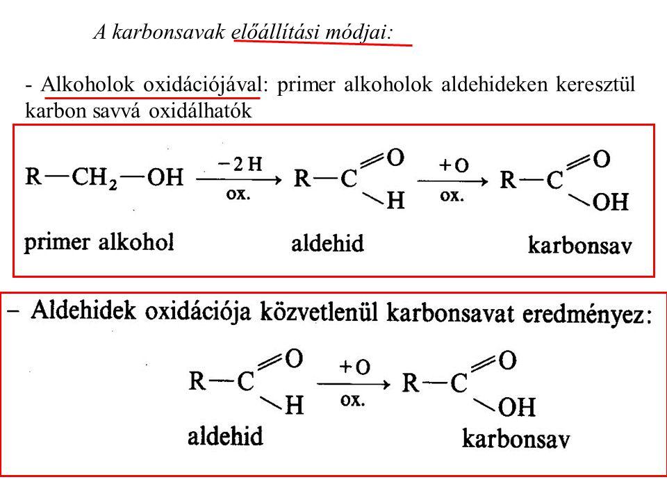 A karbonsavak előállítási módjai: - Alkoholok oxidációjával: primer alkoholok aldehideken keresztül karbon savvá oxidálhatók