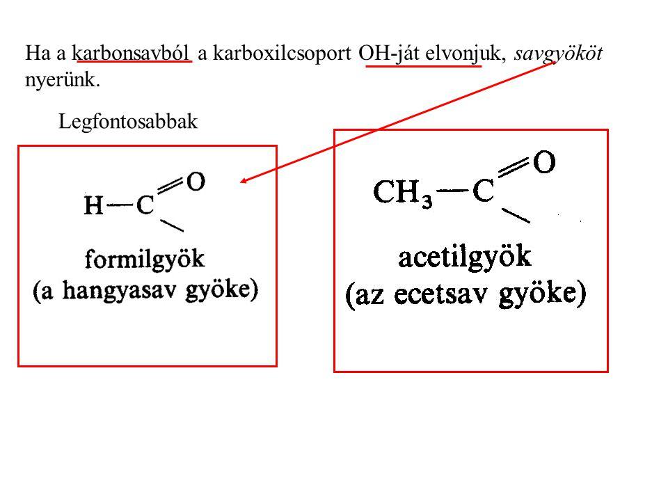 Ha a karbonsavból a karboxilcsoport OH-ját elvonjuk, savgyököt nyerünk. Legfontosabbak