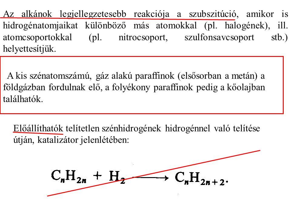 Az alkánok legjellegzetesebb reakciója a szubszitúció, amikor is hidrogénatomjaikat különböző más atomokkal (pl.