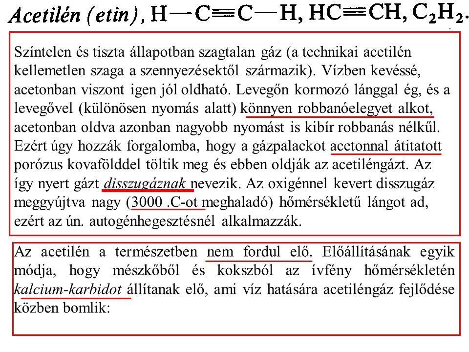 Színtelen és tiszta állapotban szagtalan gáz (a technikai acetilén kellemetlen szaga a szennyezésektől származik).