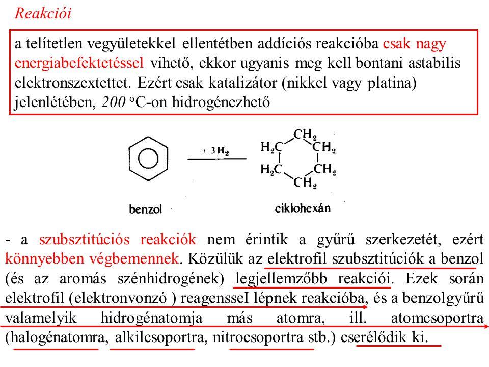 Reakciói a telítetlen vegyületekkel ellentétben addíciós reakcióba csak nagy energiabefektetéssel vihető, ekkor ugyanis meg kell bontani astabilis elektronszextettet.