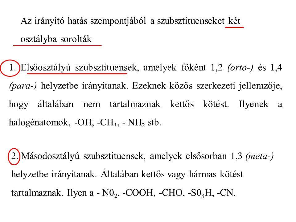 Az irányító hatás szempontjából a szubsztituenseket két osztályba sorolták 1.