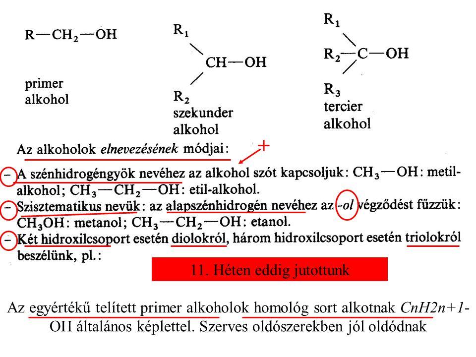 Az egyértékű telített primer alkoholok homológ sort alkotnak CnH2n+1- OH általános képlettel.