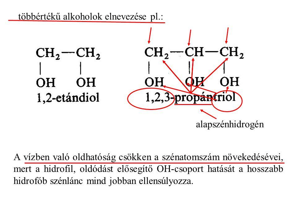 A vízben való oldhatóság csökken a szénatomszám növekedésévei, mert a hidrofil, oldódást elősegítő OH-csoport hatását a hosszabb hidrofób szénlánc mind jobban ellensúlyozza.