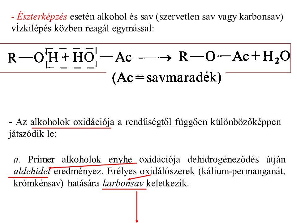 - Észterképzés esetén alkohol és sav (szervetlen sav vagy karbonsav) vÍzkilépés közben reagál egymással: - Az alkoholok oxidációja a rendűségtől függően különbözőképpen játszódik le: a.