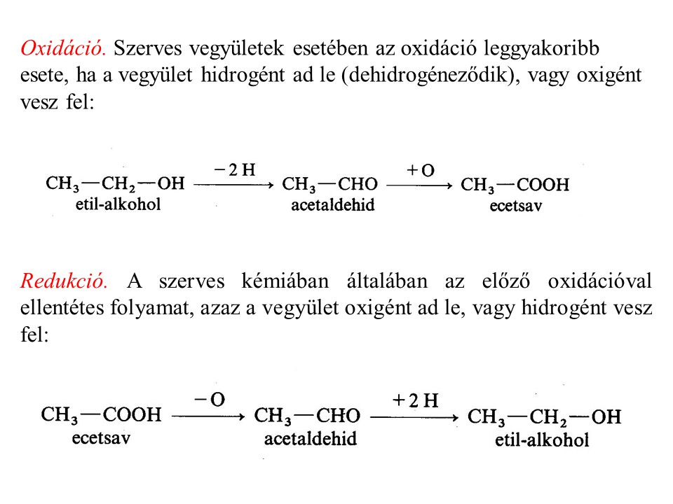 B, Szekunder alkoholok enyhe oxidációval ketonná dehidrogéneződnek: c, Tercier alkoholok általában csak erélyesebb hatásra oxidálódnak, mégpedig a lánc felszakadásával, karbonsavakká alakulva.