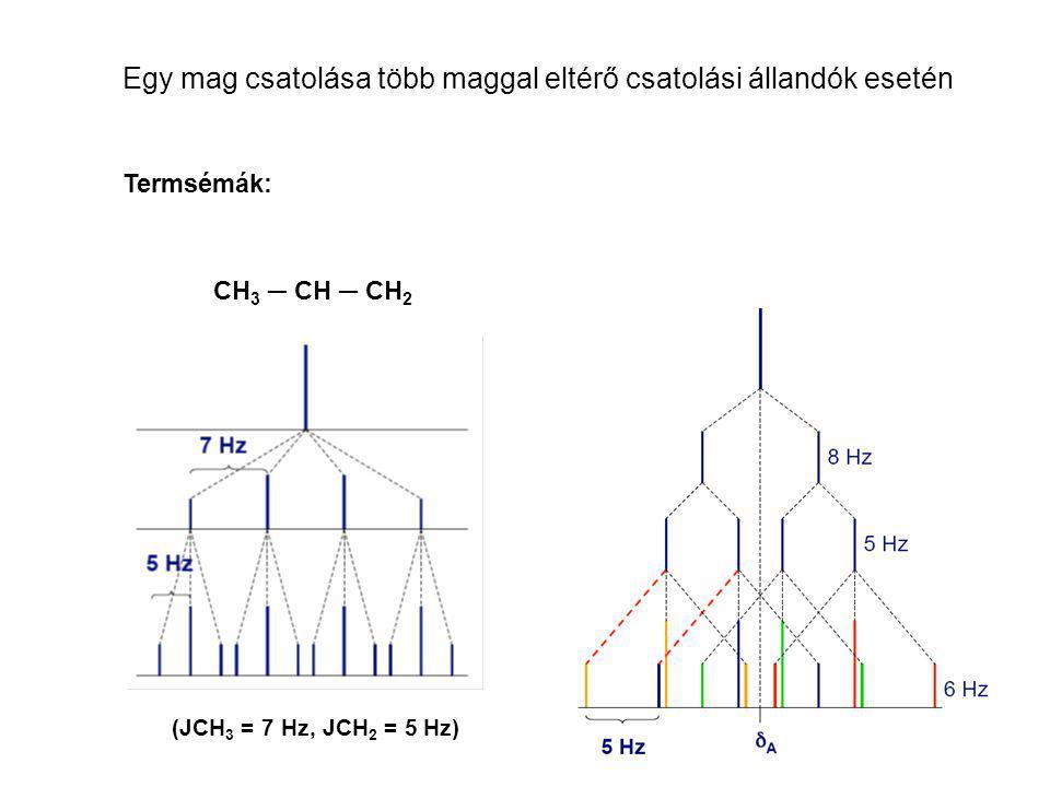 Egy mag csatolása több maggal eltérő csatolási állandók esetén CH 3 ─ CH ─ CH 2 (JCH 3 = 7 Hz, JCH 2 = 5 Hz) Termsémák: