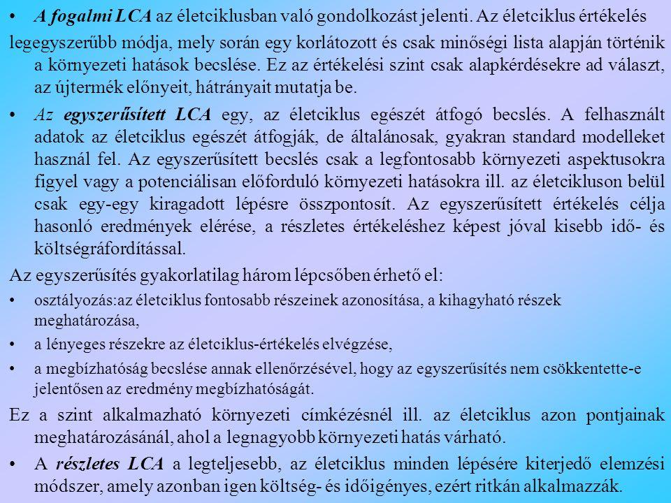 A fogalmi LCA az életciklusban való gondolkozást jelenti.