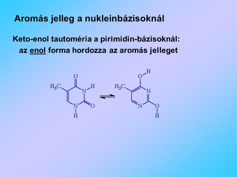 Aromás jelleg a nukleinbázisoknál Keto-enol tautoméria a pirimidin-bázisoknál: az enol forma hordozza az aromás jelleget