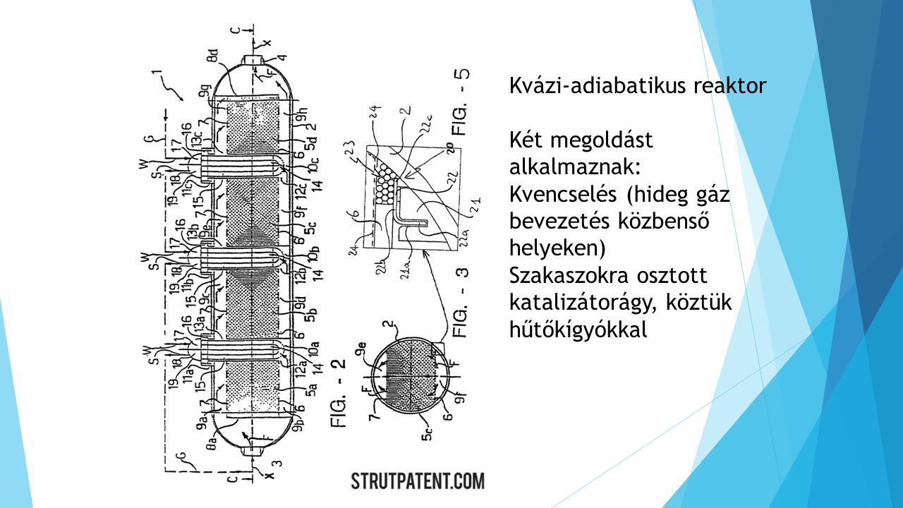 Kvázi-adiabatikus reaktor Két megoldást alkalmaznak: Kvencselés (hideg gáz bevezetés közbenső helyeken) Szakaszokra osztott katalizátorágy, köztük hűtőkígyókkal