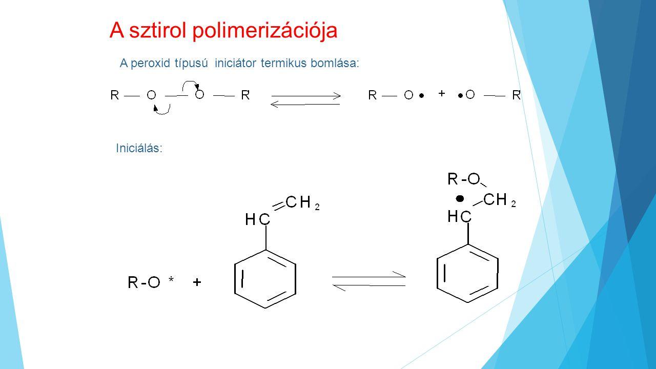 A sztirol polimerizációja A peroxid típusú iniciátor termikus bomlása: Iniciálás: