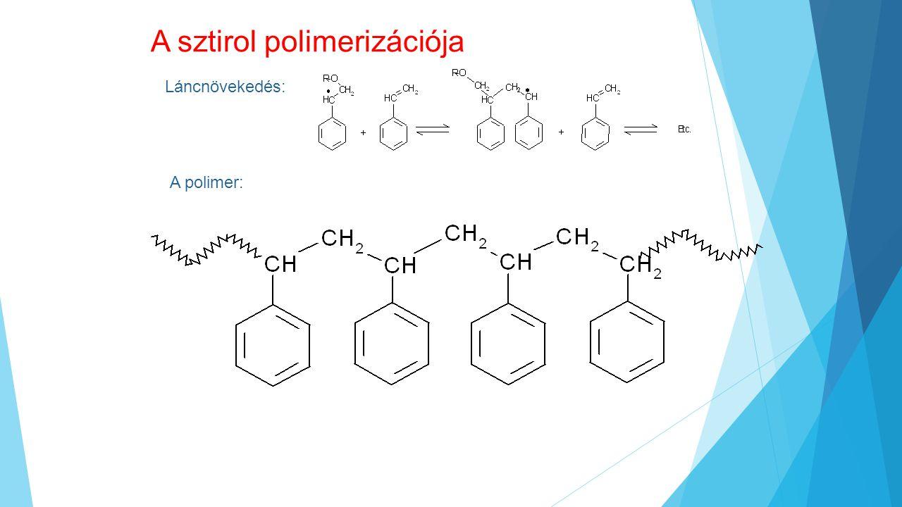 A sztirol polimerizációja Láncnövekedés: A polimer: