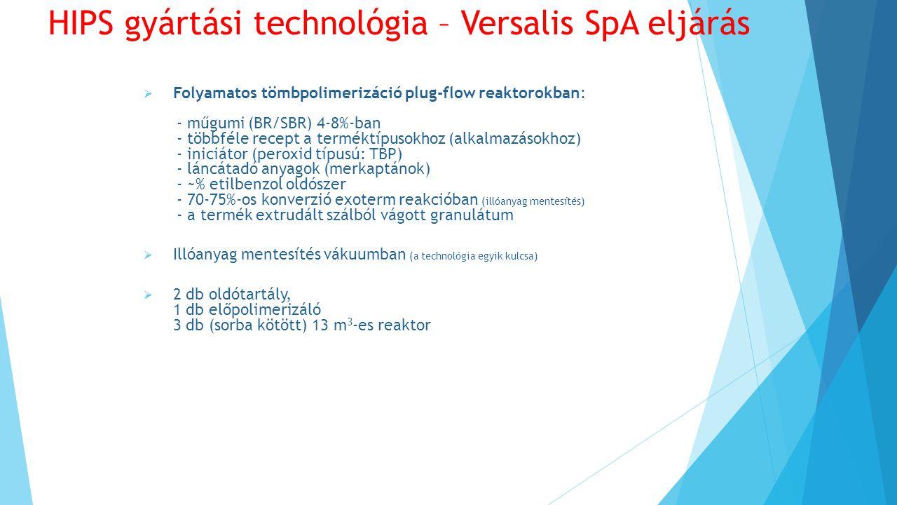  Folyamatos tömbpolimerizáció plug-flow reaktorokban: - műgumi (BR/SBR) 4-8%-ban - többféle recept a terméktípusokhoz (alkalmazásokhoz) - iniciátor (peroxid típusú: TBP) - láncátadó anyagok (merkaptánok) - ~% etilbenzol oldószer - 70-75%-os konverzió exoterm reakcióban (illóanyag mentesítés) - a termék extrudált szálból vágott granulátum  Illóanyag mentesítés vákuumban (a technológia egyik kulcsa)  2 db oldótartály, 1 db előpolimerizáló 3 db (sorba kötött) 13 m 3 -es reaktor HIPS gyártási technológia – Versalis SpA eljárás