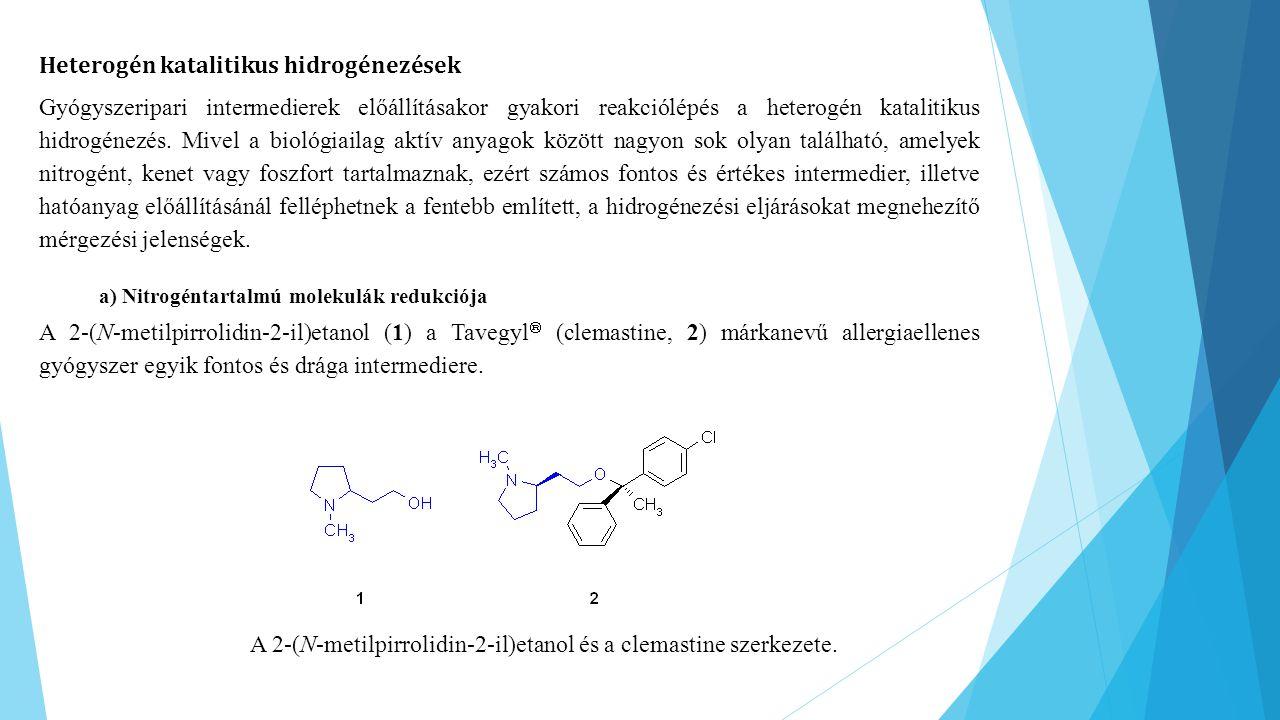 Heterogén katalitikus hidrogénezések Gyógyszeripari intermedierek előállításakor gyakori reakciólépés a heterogén katalitikus hidrogénezés. Mivel a bi