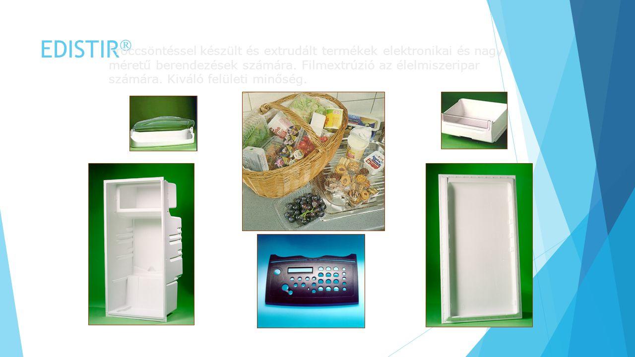 EDISTIR  Fröccsöntéssel készült és extrudált termékek elektronikai és nagy méretű berendezések számára. Filmextrúzió az élelmiszeripar számára. Kivál