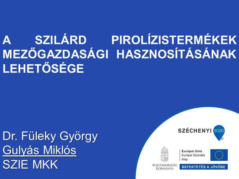 A SZILÁRD PIROLÍZISTERMÉKEK MEZŐGAZDASÁGI HASZNOSÍTÁSÁNAK LEHETŐSÉGE Dr. Füleky György Gulyás Miklós SZIE MKK