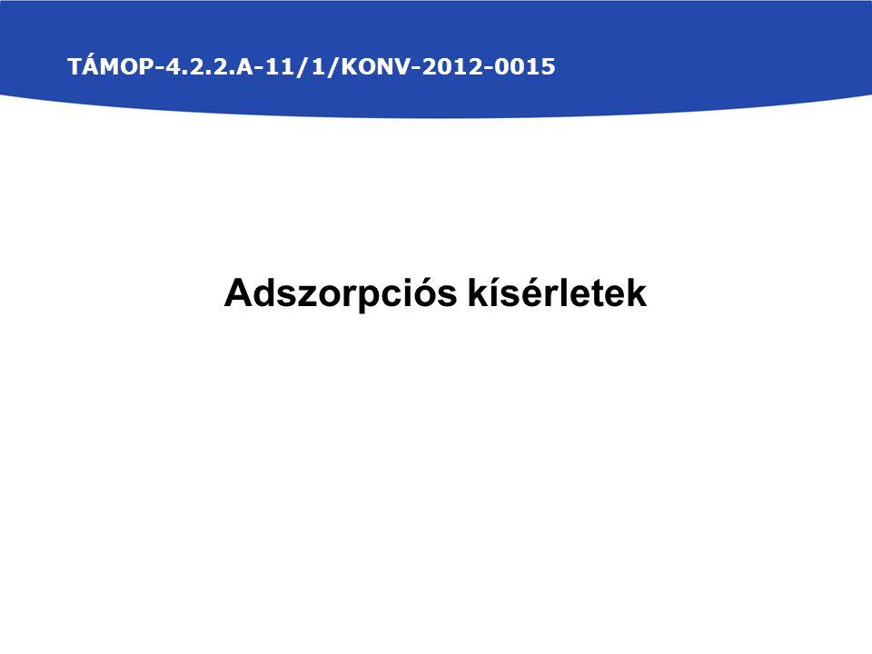 TÁMOP-4.2.2.A-11/1/KONV-2012-0015 Adszorpciós kísérletek