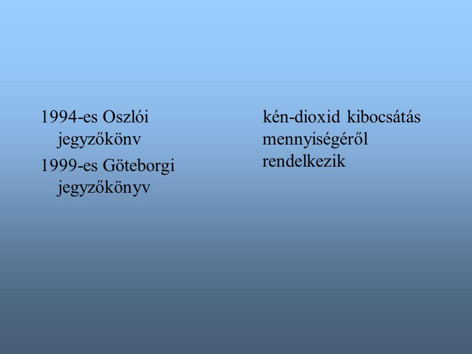 1994-es Oszlói jegyzőkönv 1999-es Göteborgi jegyzőkönyv kén-dioxid kibocsátás mennyiségéről rendelkezik