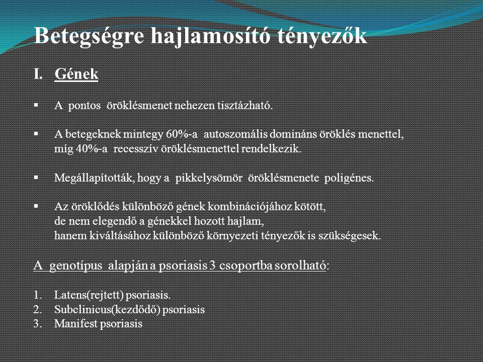II.Provokáló tényezők A.Külső provokáló tényezők 1.Fizikai tényezők (nyomásnak kitett helyeken – térd, könyök) 2.Kémiai tényezők (különböző vegyi anyagok) 3.Gyulladásos dermatosisok 4.Kontakt allergének (króm) B.