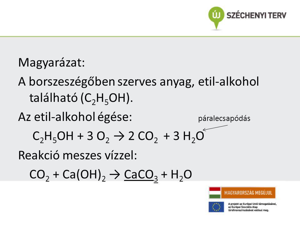 Magyarázat: A borszeszégőben szerves anyag, etil-alkohol található (C 2 H 5 OH).