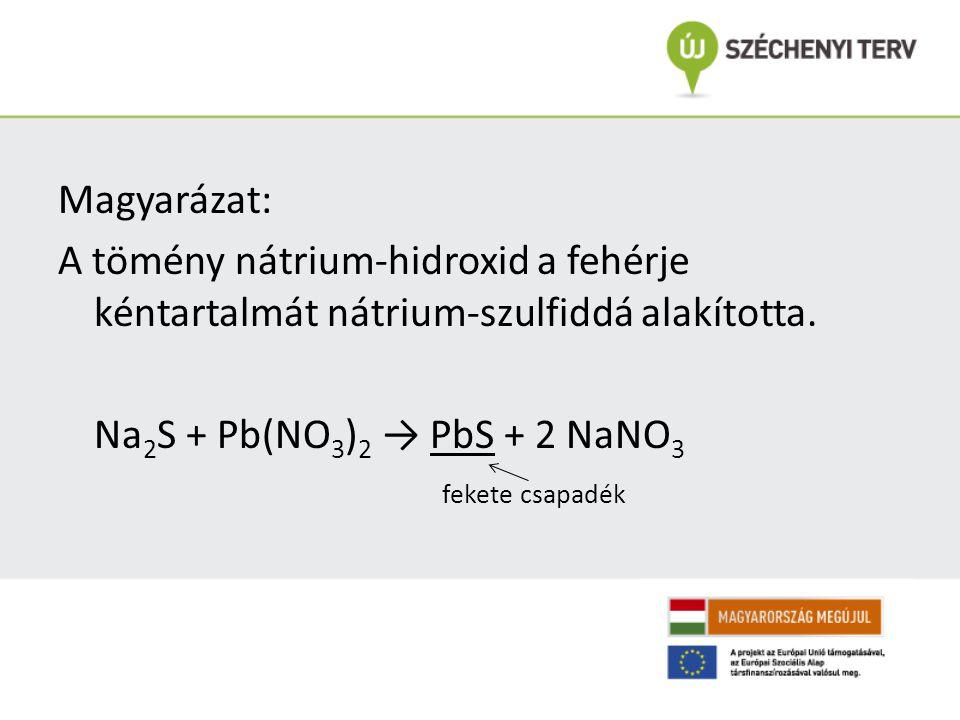 Magyarázat: A tömény nátrium-hidroxid a fehérje kéntartalmát nátrium-szulfiddá alakította.