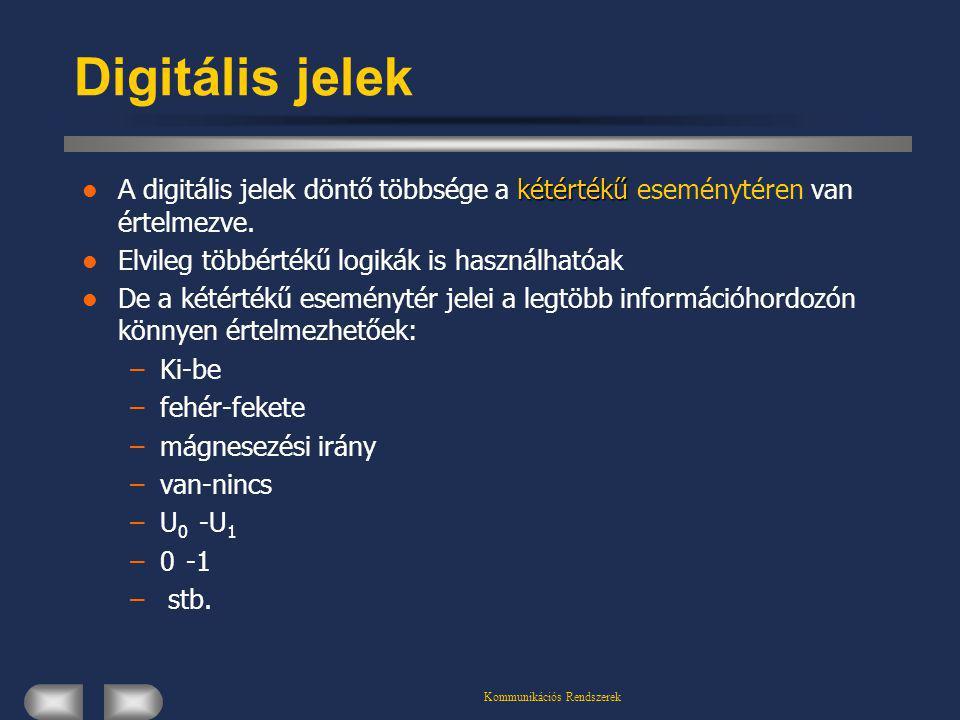 Kommunikációs Rendszerek Digitális jelek kétértékű A digitális jelek döntő többsége a kétértékű eseménytéren van értelmezve. Elvileg többértékű logiká