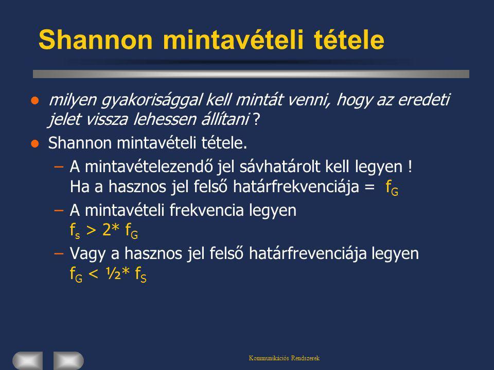 Kommunikációs Rendszerek Shannon mintavételi tétele milyen gyakorisággal kell mintát venni, hogy az eredeti jelet vissza lehessen állítani ? Shannon m