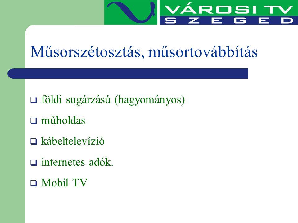 Műsorszétosztás, műsortovábbítás  földi sugárzású (hagyományos)  műholdas  kábeltelevízió  internetes adók.  Mobil TV
