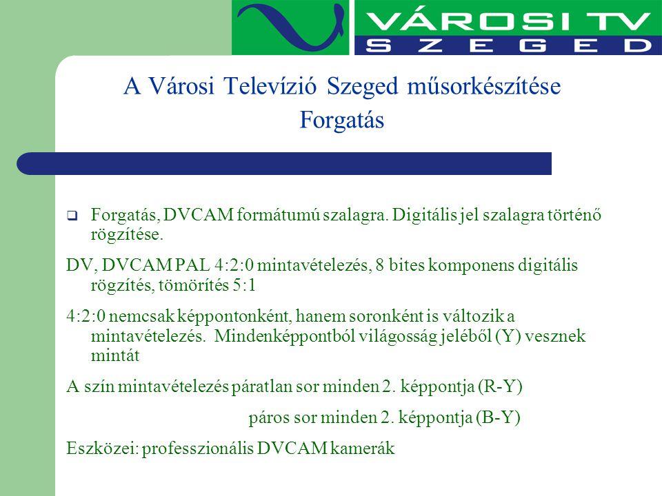A Városi Televízió Szeged műsorkészítése Forgatás  Forgatás, DVCAM formátumú szalagra. Digitális jel szalagra történő rögzítése. DV, DVCAM PAL 4:2:0