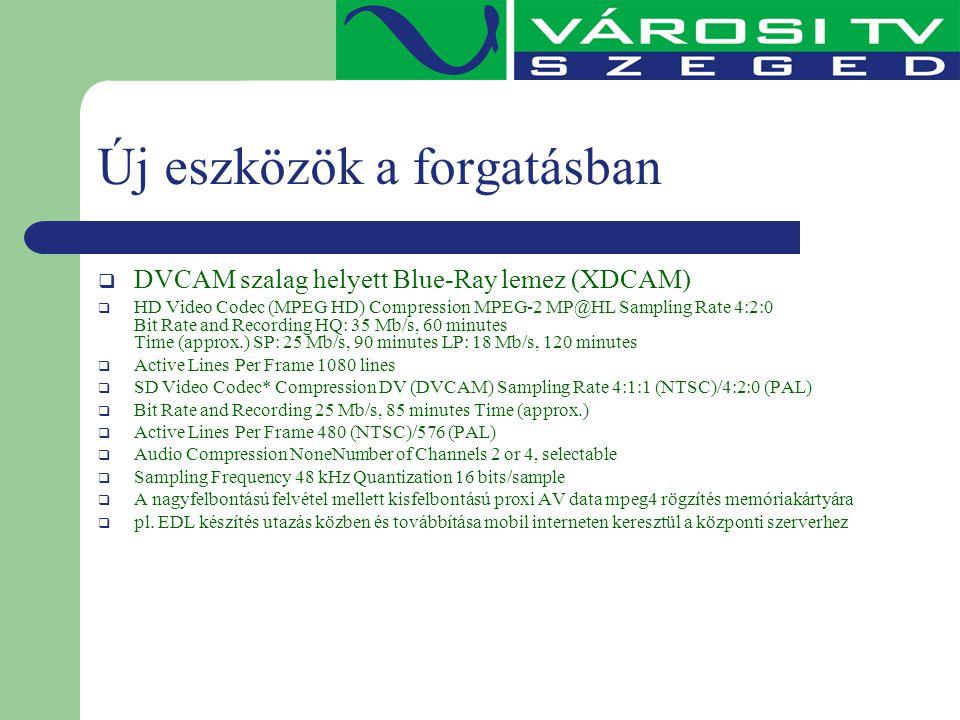 Új eszközök a forgatásban  DVCAM szalag helyett Blue-Ray lemez (XDCAM)  HD Video Codec (MPEG HD) Compression MPEG-2 MP@HL Sampling Rate 4:2:0 Bit Ra