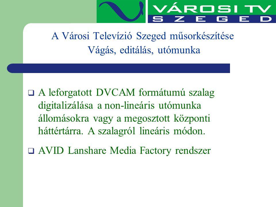 A Városi Televízió Szeged műsorkészítése Vágás, editálás, utómunka  A leforgatott DVCAM formátumú szalag digitalizálása a non-lineáris utómunka állom