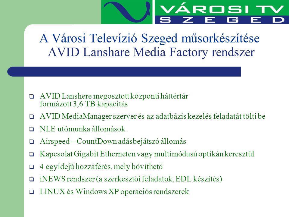 A Városi Televízió Szeged műsorkészítése AVID Lanshare Media Factory rendszer  AVID Lanshere megosztott központi háttértár formázott 3,6 TB kapacitás