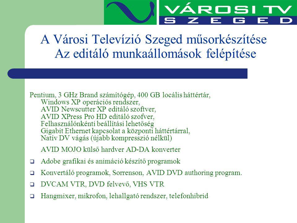 A Városi Televízió Szeged műsorkészítése Az editáló munkaállomások felépítése Pentium, 3 GHz Brand számítógép, 400 GB locális háttértár, Windows XP op