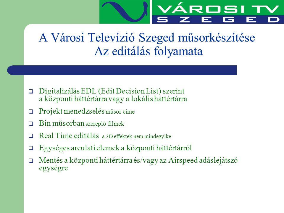 A Városi Televízió Szeged műsorkészítése Az editálás folyamata  Digitalizálás EDL (Edit Decision List) szerint a központi háttértárra vagy a lokális
