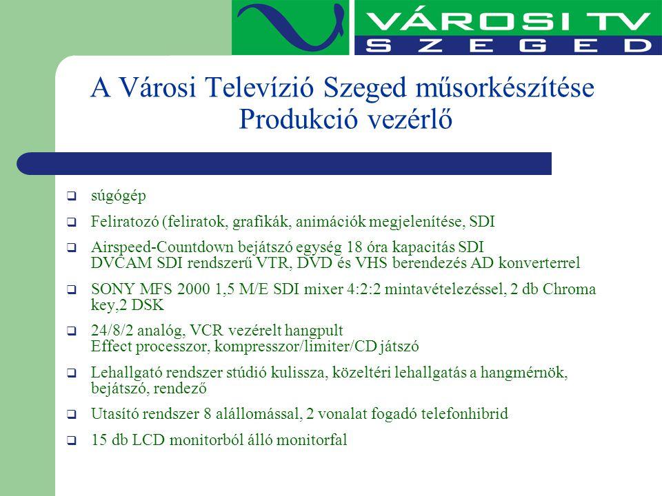 A Városi Televízió Szeged műsorkészítése Produkció vezérlő  súgógép  Feliratozó (feliratok, grafikák, animációk megjelenítése, SDI  Airspeed-Countd