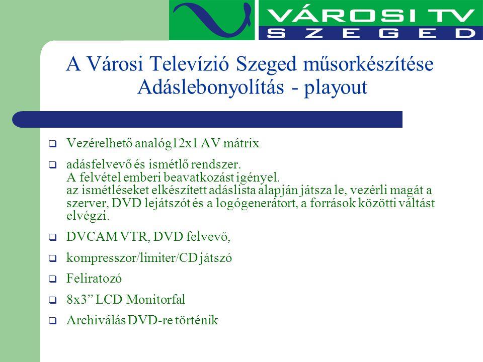 A Városi Televízió Szeged műsorkészítése Adáslebonyolítás - playout  Vezérelhető analóg12x1 AV mátrix  adásfelvevő és ismétlő rendszer. A felvétel e