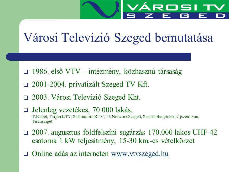 Városi Televízió Szeged bemutatása  1986. első VTV – intézmény, közhasznú társaság  2001-2004. privatizált Szeged TV Kft.  2003. Városi Televízió S