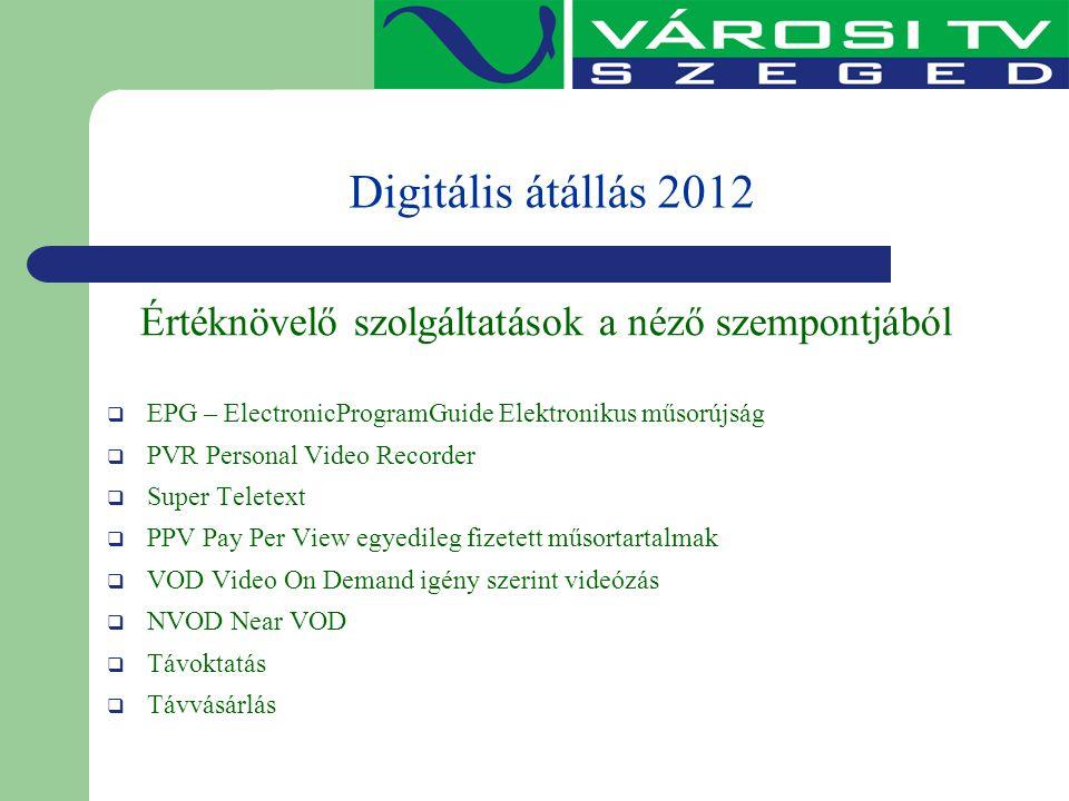 Digitális átállás 2012 Értéknövelő szolgáltatások a néző szempontjából  EPG – ElectronicProgramGuide Elektronikus műsorújság  PVR Personal Video Rec