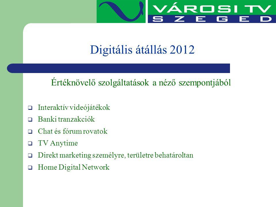 Digitális átállás 2012 Értéknövelő szolgáltatások a néző szempontjából  Interaktív videójátékok  Banki tranzakciók  Chat és fórum rovatok  TV Anyt