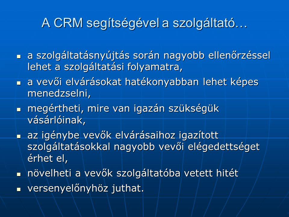 A CRM segítségével a szolgáltató… a szolgáltatásnyújtás során nagyobb ellenőrzéssel lehet a szolgáltatási folyamatra, a szolgáltatásnyújtás során nagyobb ellenőrzéssel lehet a szolgáltatási folyamatra, a vevői elvárásokat hatékonyabban lehet képes menedzselni, a vevői elvárásokat hatékonyabban lehet képes menedzselni, megértheti, mire van igazán szükségük vásárlóinak, megértheti, mire van igazán szükségük vásárlóinak, az igénybe vevők elvárásaihoz igazított szolgáltatásokkal nagyobb vevői elégedettséget érhet el, az igénybe vevők elvárásaihoz igazított szolgáltatásokkal nagyobb vevői elégedettséget érhet el, növelheti a vevők szolgáltatóba vetett hitét növelheti a vevők szolgáltatóba vetett hitét versenyelőnyhöz juthat.