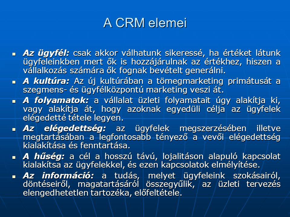 A CRM elemei Az ügyfél: csak akkor válhatunk sikeressé, ha értéket látunk ügyfeleinkben mert ők is hozzájárulnak az értékhez, hiszen a vállalkozás számára ők fognak bevételt generálni.