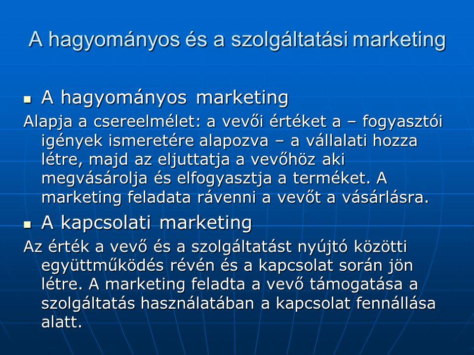 A hagyományos és a szolgáltatási marketing A hagyományos marketing A hagyományos marketing Alapja a csereelmélet: a vevői értéket a – fogyasztói igények ismeretére alapozva – a vállalati hozza létre, majd az eljuttatja a vevőhöz aki megvásárolja és elfogyasztja a terméket.