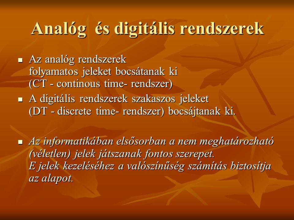 Analóg és digitális rendszerek Az analóg rendszerek folyamatos jeleket bocsátanak ki (CT - continous time- rendszer) Az analóg rendszerek folyamatos j