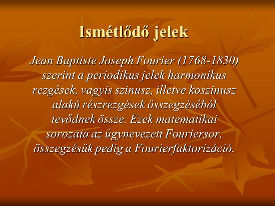 Jean Baptiste Joseph Fourier (1768-1830) szerint a periodikus jelek harmonikus rezgések, vagyis szinusz, illetve koszinusz alakú részrezgések összegzé