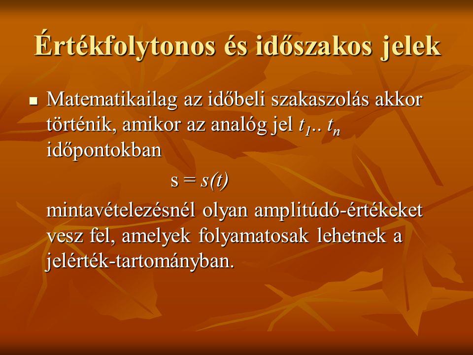 Értékfolytonos és időszakos jelek Matematikailag az időbeli szakaszolás akkor történik, amikor az analóg jel t 1.. t n időpontokban Matematikailag az
