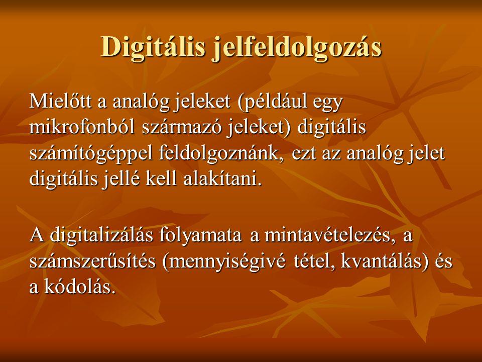 Digitális jelfeldolgozás Mielőtt a analóg jeleket (például egy mikrofonból származó jeleket) digitális számítógéppel feldolgoznánk, ezt az analóg jele