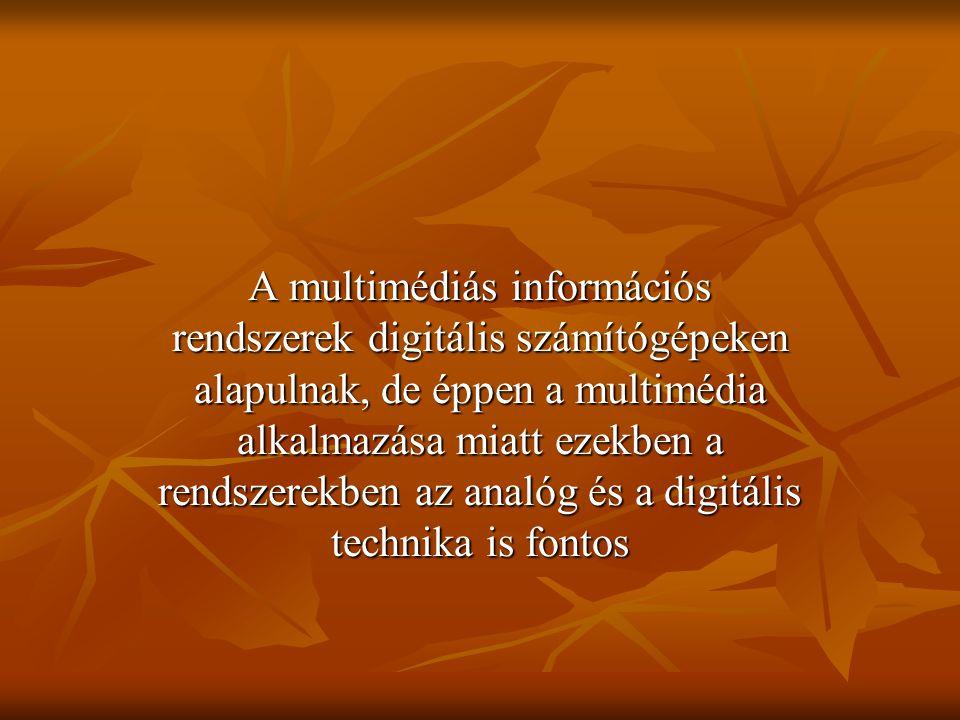 A multimédiás információs rendszerek digitális számítógépeken alapulnak, de éppen a multimédia alkalmazása miatt ezekben a rendszerekben az analóg és